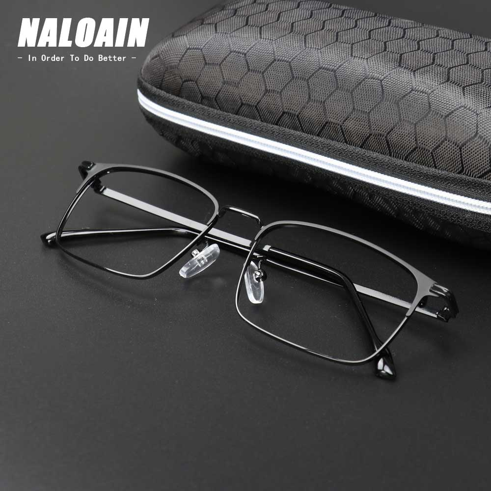 NALOAIN Optical Eye Glasses Frame Ultralight Square Prescription Eyeglasses Alloy Metal Frame Clear Lens For Men Women