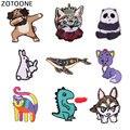 ZOTOONE Cartoon Katze Wolf Patch Eisen auf Aufkleber für Kleidung Jcaket DIY Abzeichen Applique Stickerei Tier Hund Nähen auf Patches E