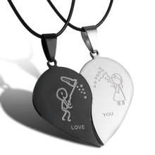 Mode Paar Halskette Schmuck Herz Runde Anhänger Edelstahl Halskette Unisex Liebhaber valentinstag Geschenk Leder Kette Kragen