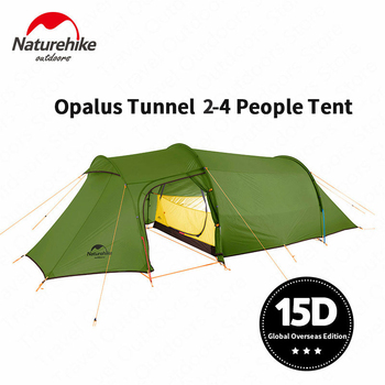 Naturehike Camping Tent Opalus Tunnel 2-4 Persons 4 Seasons Tent Ultralight Waterproof 15D/20D/210T Fabric Tourist Tent With Mat double 20d silicon coated four seasons ultra light camping outdoor tent