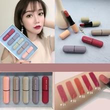ZHENDUO 5pcs/set lipstick set Long Lasting Waterproof Moisturizing Velvet matte  Beauty Makeup red Lip stick Cosmetics