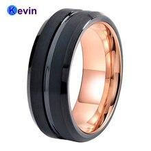 Хорошее 2 цвета вольфрамовое Кольцо черное и розовое золото