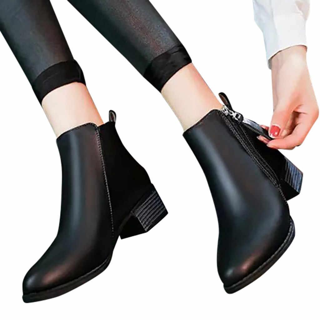 Moda saf renk yarım çizmeler kadınlar için deri siyah sivri burun fermuar çizmeler kare topuklu Vintage kadın çizmeler botas mujer