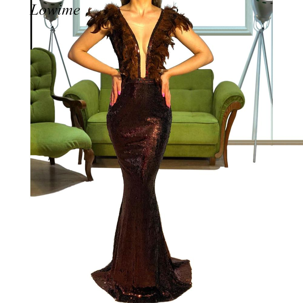 New Arrival Brown Turkish   Prom     Dresses   2019 Sexy Long Evening   Dresses   Mermaid Cocktail Party Gowns Feathers Vestidos De Fiesta