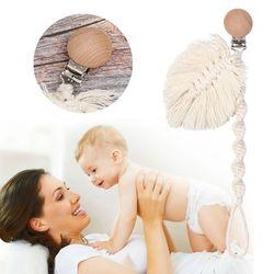 Cuerda de algodón trenzado soporte para pezones chupete de bebé Clips cadena chupete infantil 090A