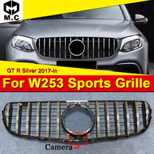front grille suitable for glc class w253 gtr 2015 2018 x253 glc200 glc250 glc300 glc450 glc63 grille without central logo For Benz GLC Class W253 X253 GLC300 GLC350 With camera ABS Silver GTR Style Car Front Bumper Grill Grille Without Sign 2017-in