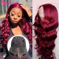 Ali Pearl Wigs 99J Color Body Wave Human Hair Wigs Brazilian Hair T Part Lace Wig For Black Women Pre Plucked 150 180 Density