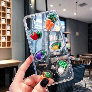 Image 2 - Bonito 3d legumes luminosa caixa do telefone para iphone xr caso x xs max 6s 6 7 8 plus cenoura transparente glitter estrela macio tpu capa