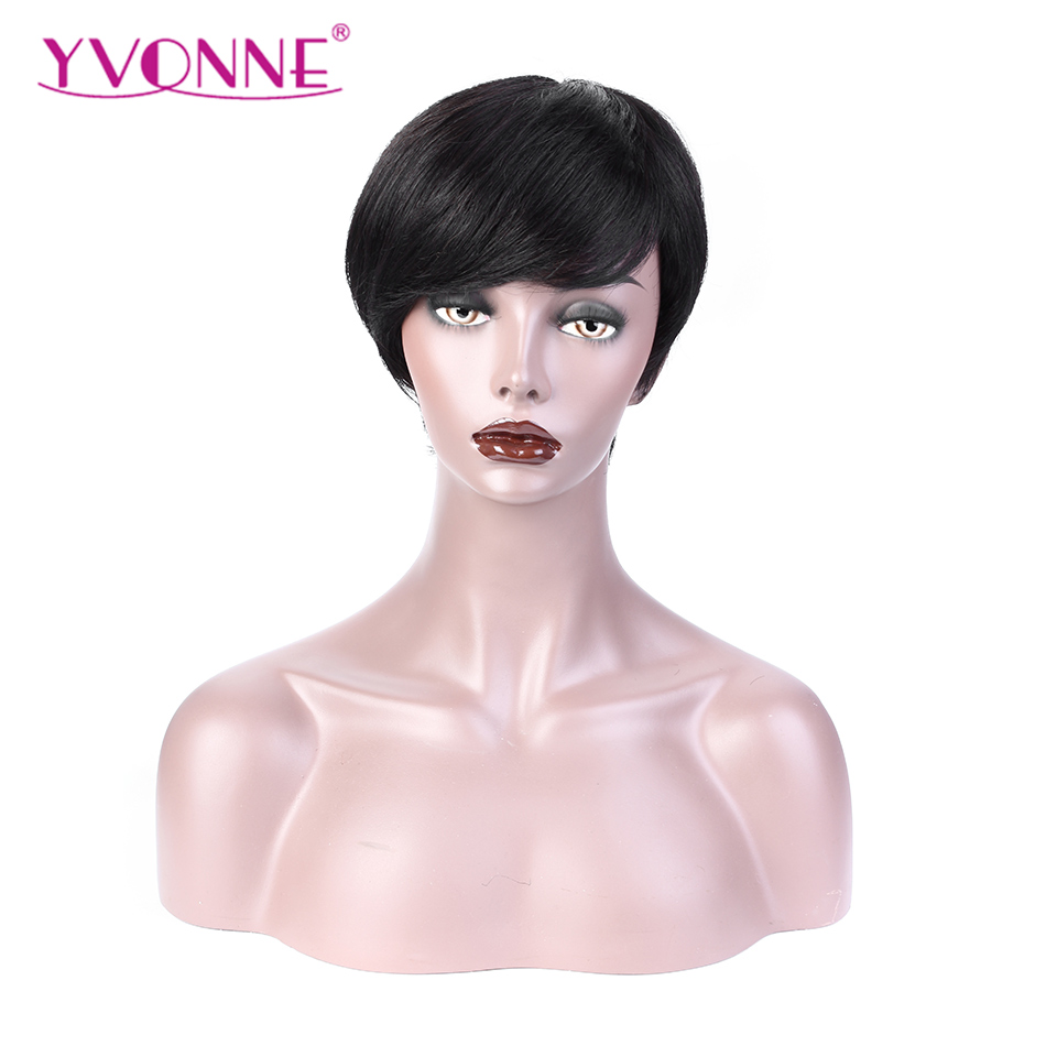 YVONNE Pixie Cut Wig For Women Natural Color Straight Brazilian Virgin Hair Machine Made Wigs