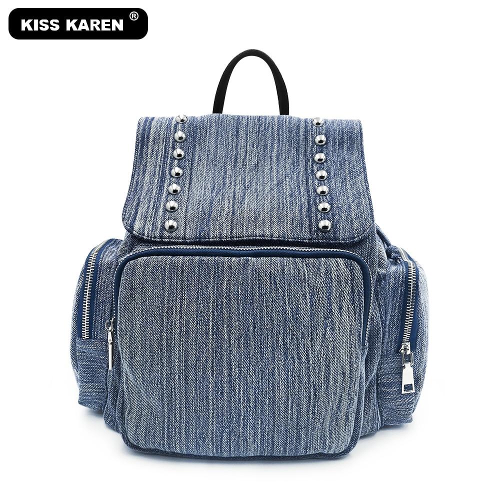 All New Fashion Women's Backpacks Luxury Rivets Jeans Denim Backpack Roomy Preppy Style Travel Bags Drawstring Backpacks
