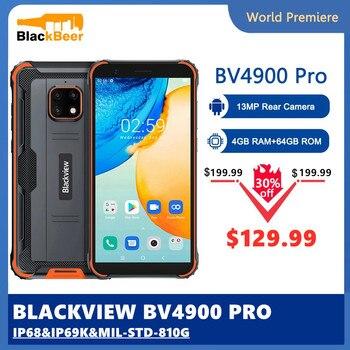 Перейти на Алиэкспресс и купить Blackview BV4900 Pro IP68 прочный смартфон Android 10 мобильного телефона Водонепроницаемый 4 Гб Оперативная память 64 Гб Встроенная память 5,7 дюймов 4G мобил...