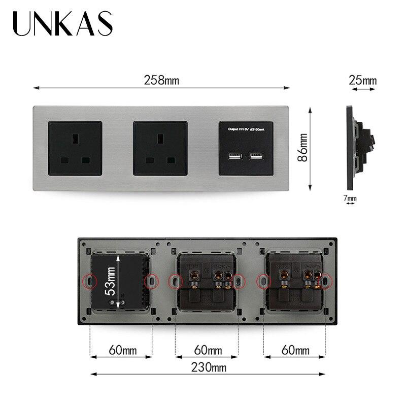 Prise de courant Standard britannique UNKAS prise électrique mise à la terre avec Double Port de charge intelligent USB 5V 2A sortie - 3
