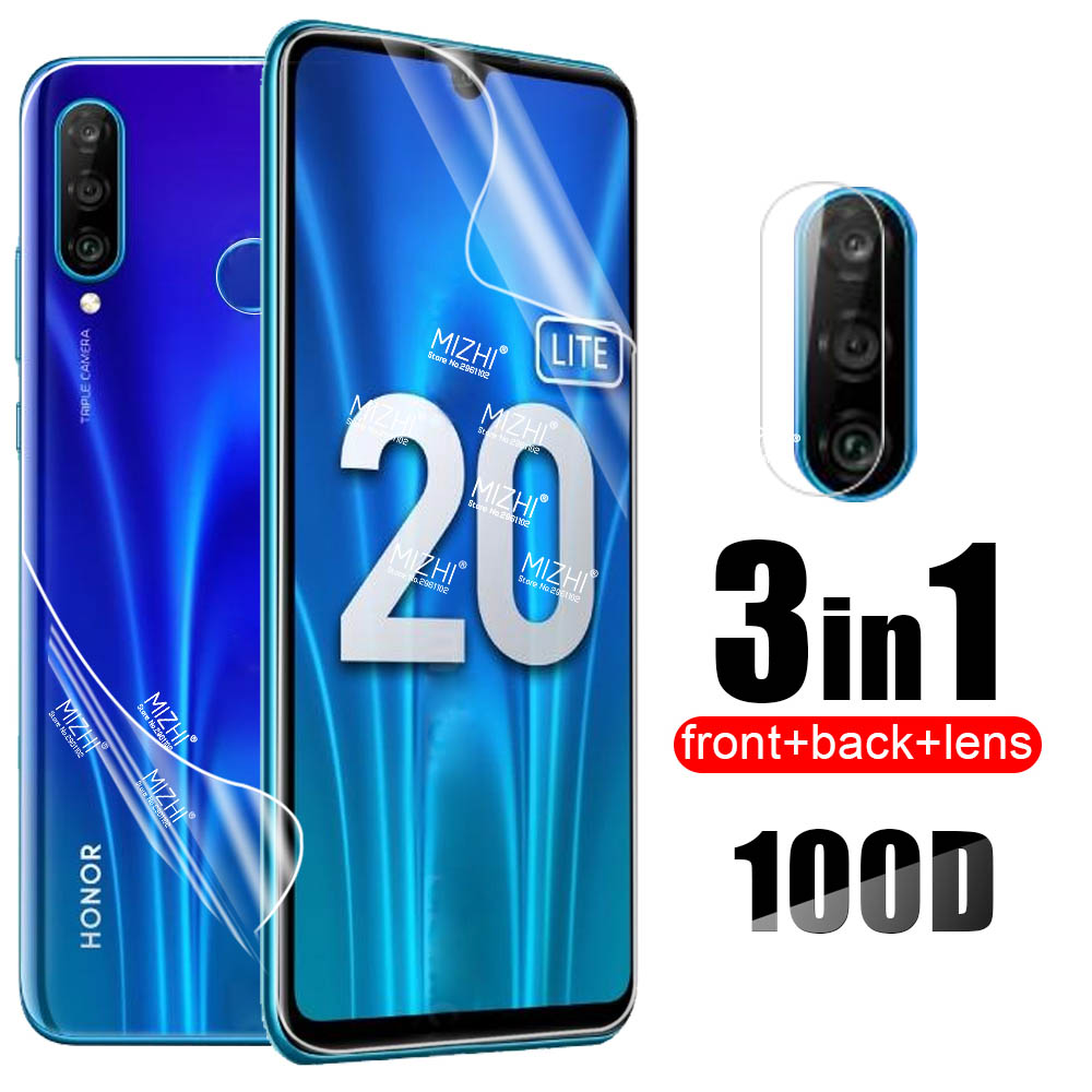 3in1 Hydrogel Soft Film For Huawei Honor 10i 10 Lite 20 Light 20S 30S 8x 9x 20Pro 20Lite Back Screen Protector Camera Lens Glass