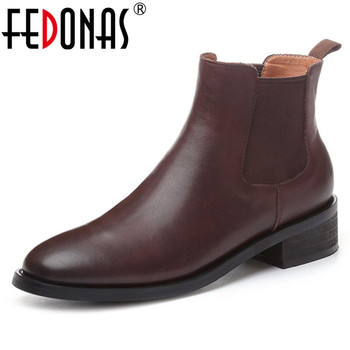 FEDONAS Vintage Autumn Winter Women Genuine Leather Ankle Boots Big Size Casual Office Shoes Woman Platforms Solid Chelsea Boots