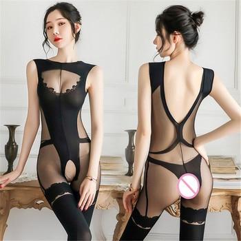 Porno Lenceria Femme Sexy Body Stockings Lingerie Transparent Teddy Babydoll Women's Erotic Underwear Dress Sex Clothes - discount item  30% OFF Exotic Apparel