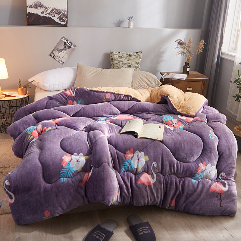 2019 New Winter Comforter Flamingo Thicken Warm Fiber Wool Cashmere Quilt Home Bedding Bird Printed AB Side Flannel Bed Duvet
