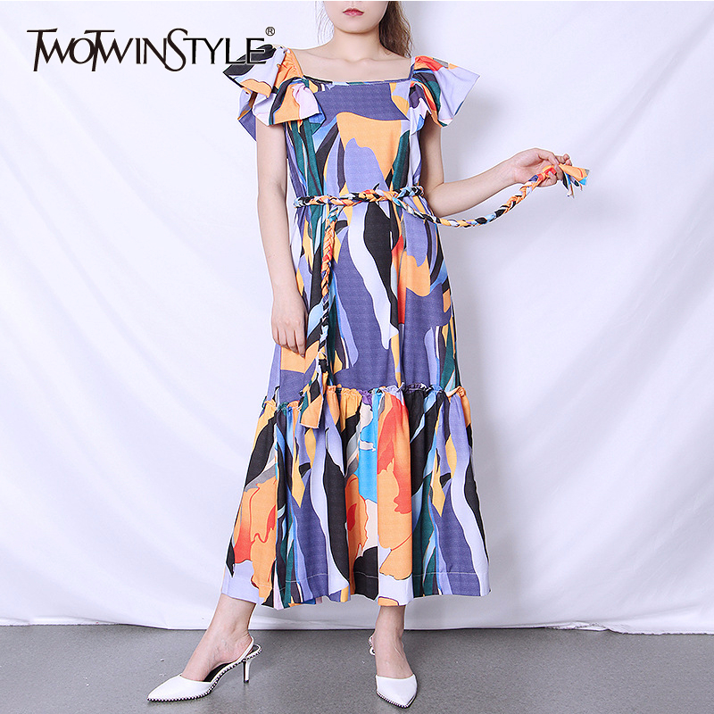 TWOTWINSTYLE Elegant Print Dresses Female O Neck Sleeveless Patchwork Ruffle High Waist Lace Up Hit Color Summer Dress Women New