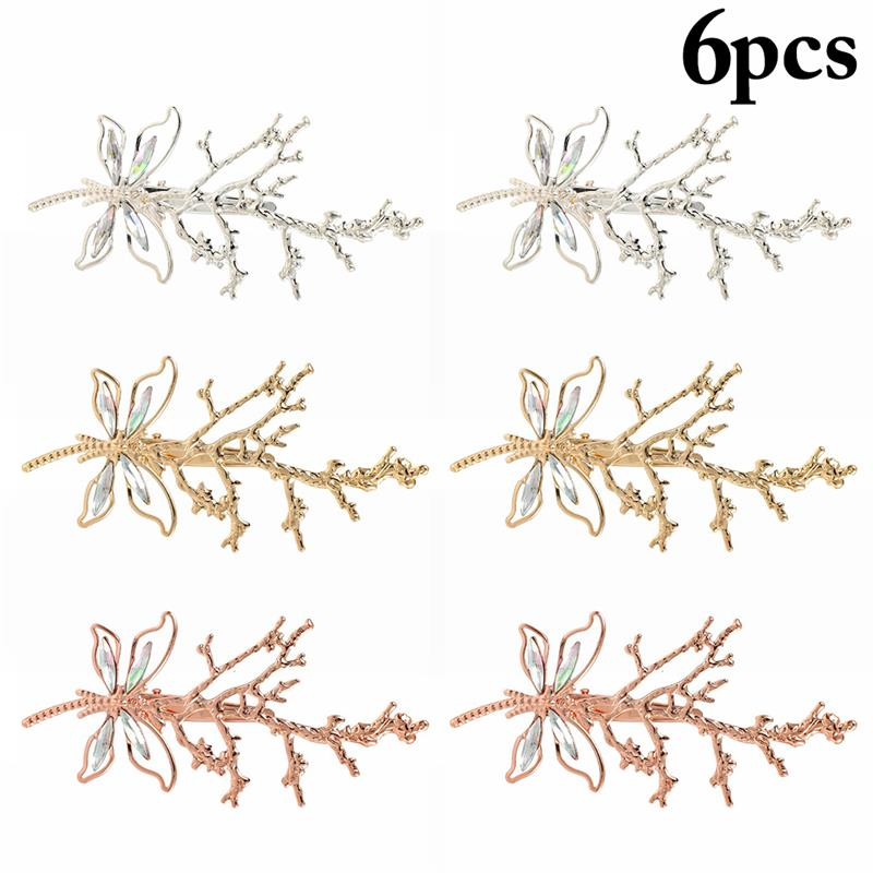 coxeer 3Pcs/Set Hair Pins Butterfly Antler Decor Vintage Hair Clips Hair Accessories For Women Girls Party Dress Up