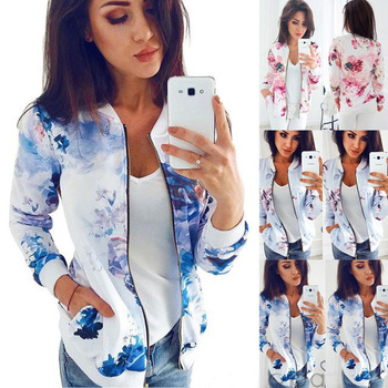 Casual Floral Print Coat Zipper Pockets Bomber Jacket Women Sweatshirt Autumn Slim S-2XL Ladies Jackets Femme Tops Long Sleeve