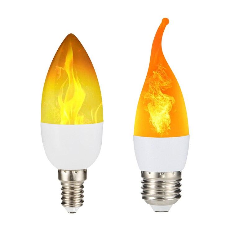 Светодиодный светильник E27, лампа-свеча E14, 110 В, светодиодный светильник-эффект пламени, 220 В, 240 В