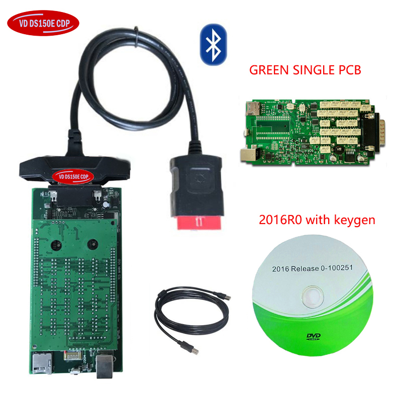 New Green single board quality A 2015 <font><b>R3</b></font> For delphis vd ds 150e cdp without / with bluetooth OBD2 Scanner car Diagnostic <font><b>tool</b></font>. image