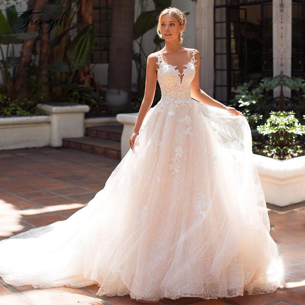 Traugel Chic Scoop A Line Lace Wedding Dresses Elegant Applique Cap Sleeve Button Bride Dress Court Train Bridal Gown Plus Size