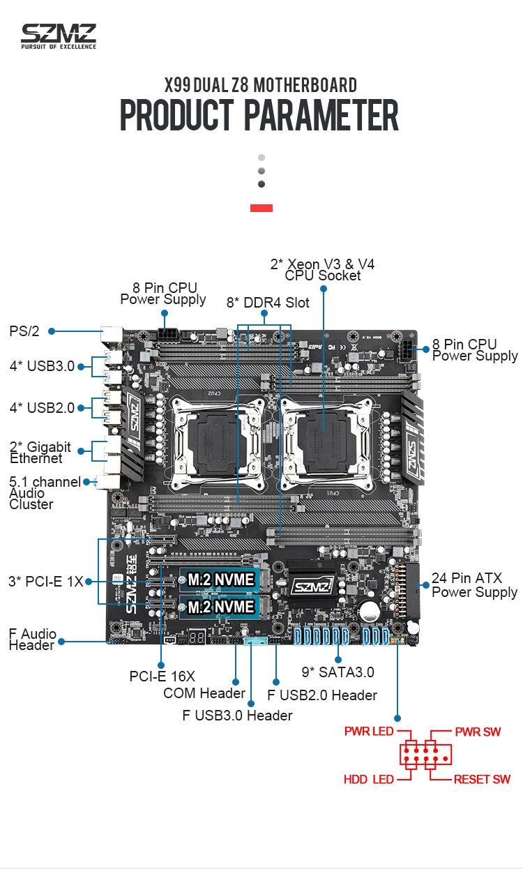 SZMZ X99 Dual CPU Motherboards Socket LGA 2011-3 motherboard support E5 2678V3,2680V3,2620V3,2650V3 6