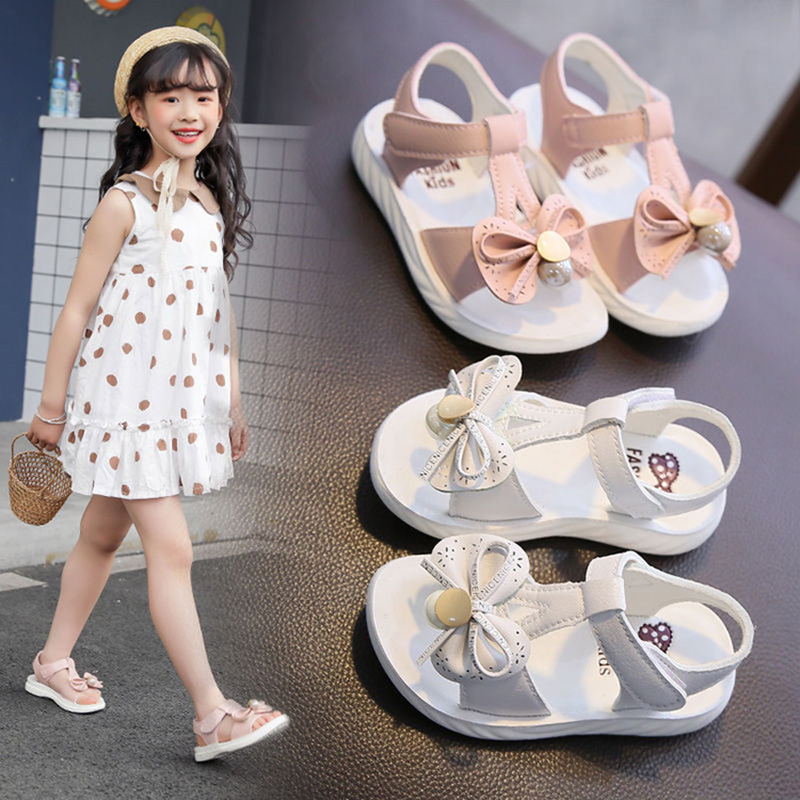 Summer Children Toddler Baby Girls Sandals Princess Shoes For Little Girls Soft Bottom Bow Sandals New 2020 2 3 4 5 6 Years old
