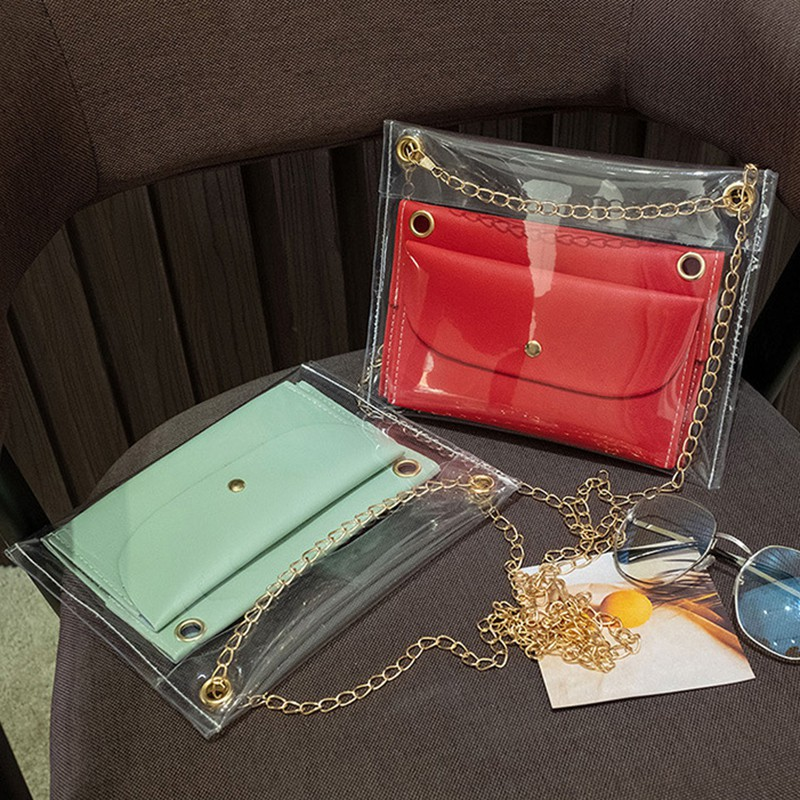 PVC Transparent Women's Bag Single Shoulder Crossbody Mobile Phone Bag Coin Purse Three Son And Mother Bag