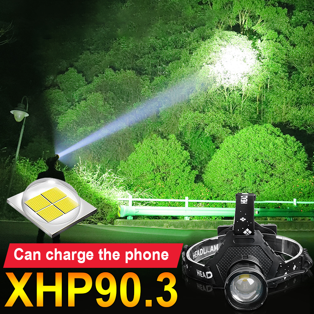New 380000LM xhp90 3 led headlight 18650 rechargeable LED headlamp usb head lamp  xhp50 head flashlight Torch  xhp70 head light