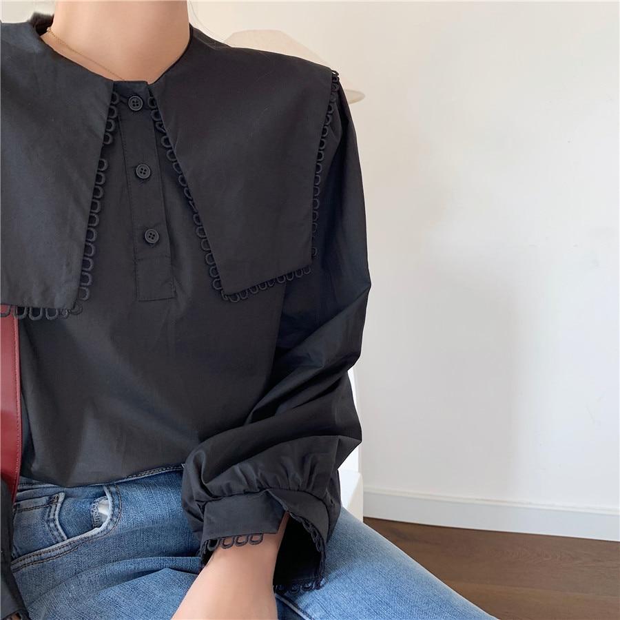 Hd24f4fda53474beea8c9e5e50b48b4526 - Spring / Autumn Puritan collar Long Sleeves Solid Blouse