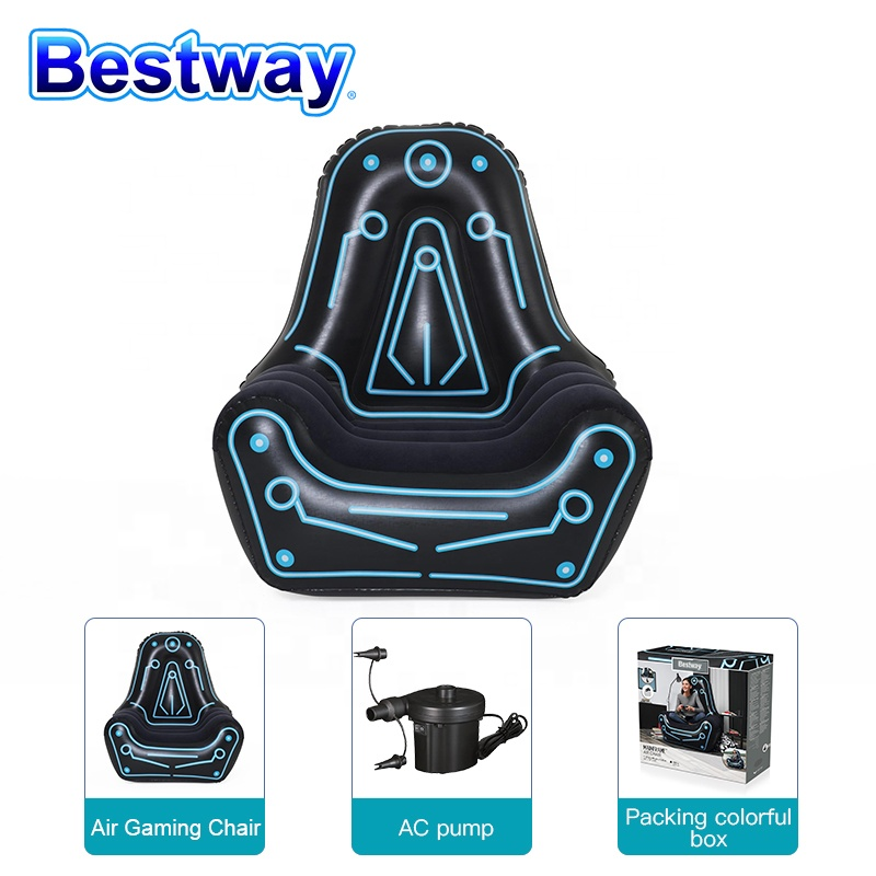 Original Bestway75077 Portable Inflatable Sofa for Gaming Mainframe Inflatable Chair for Ultimate Lounging with Auto Pump