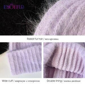 Image 5 - ENJOYFUR חורף ארנב פרווה כובעי עבור נשים חם צמר בטנת ילדה בימס אופנה גבירותיי בהיר צבע רחב צד צעירים ונטות חדש