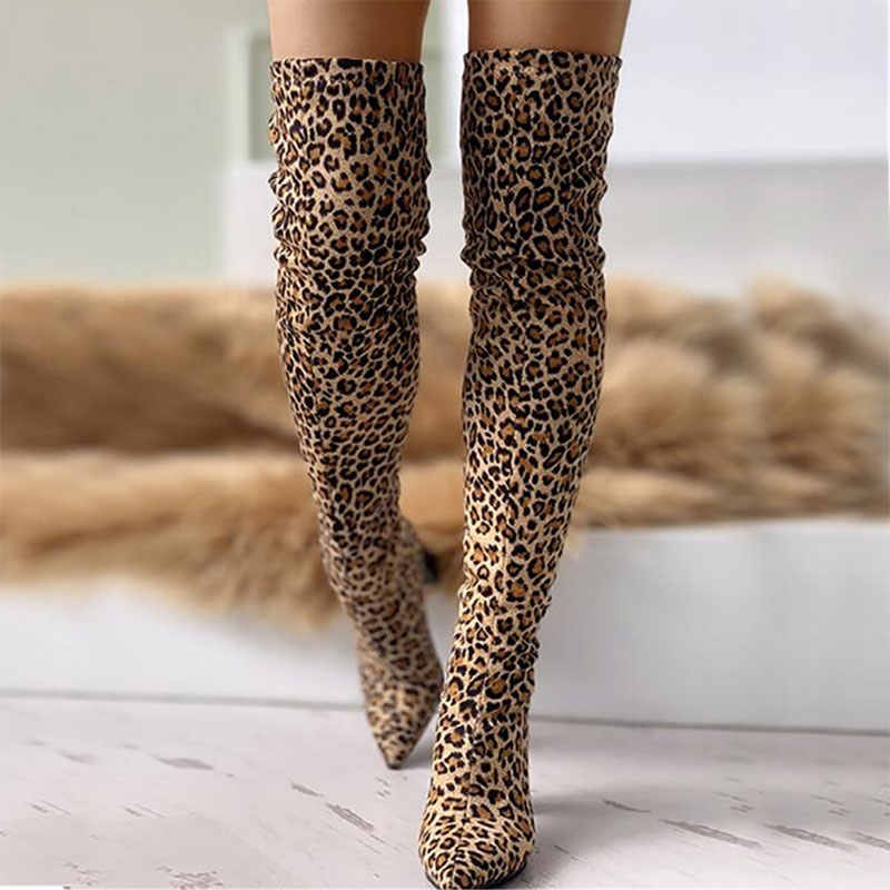 Sgesvier 2020 leopar büyük boy 43 diz çizmeler üzerinde sivri burun kadın yüksek topuk lüks tasarım tıknaz topuk kadın ayakkabısı kadın