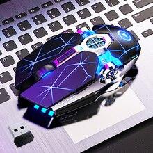 Mysz do gier bezprzewodowa cicha mysz podświetlany diodami LED 2.4G USB 1600DPI optyczna mysz ergonomiczna Gamer Desktop na PC Laptop