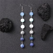 Drama Natural matte gem stone beads charm earring Long universe Hook Earring Bohemian Jewelry for women party bar gift wholesale