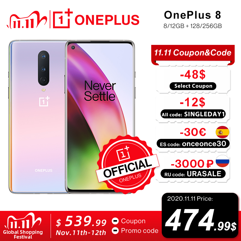 Global Rom OnePlus 8 5G Smartphone 8GB 128GB Snapdragon 865 Octa Core 6.55'' 90Hz Fluid Display UFS 3.0 48MP Triple Cams WiFi 6|Cellphones| - AliExpress