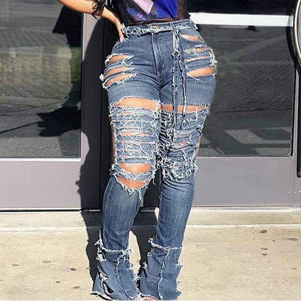 CALOFE 2020 Sexy Hollow Out Ripped Jeans Women Personality Midi Waist Denim Pants Femme Bodycon Club Pencil Pants Plus Size 3XL