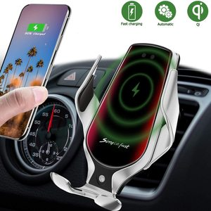 Image 2 - R3 Automatic Clamping Car Qi Wireless Charger 10W Fast Charging For Iphone 11 Pro XR XS Huawei P30 Pro Auto Sensor Phone Holder