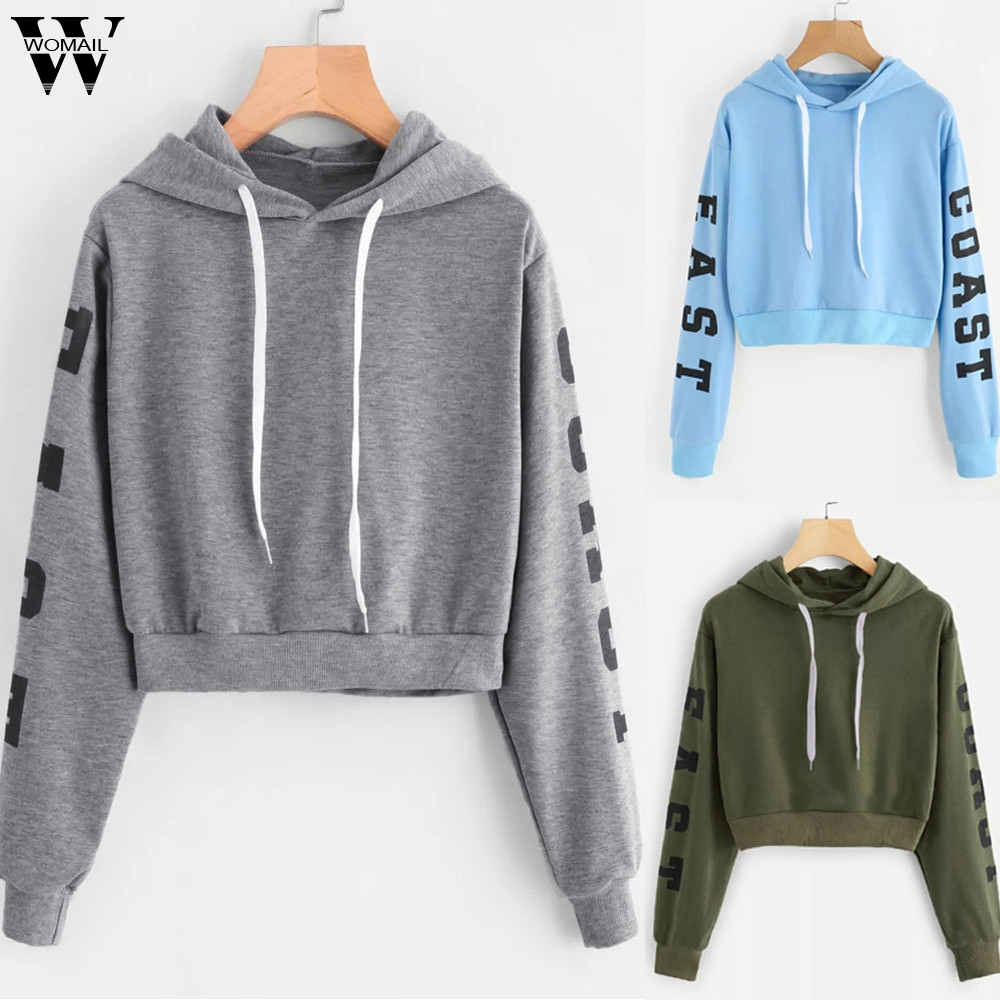 Womail Sweatshirt Women Fashion Striped sportwear Crop Hoodie Sweatshirt Jumper Crop Pullover Letters Sweatshirts Sudadera P920