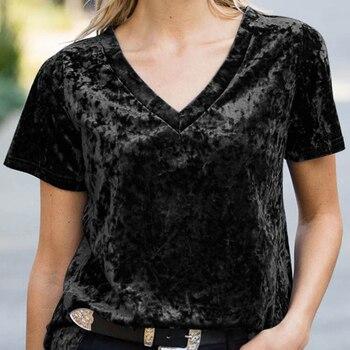 Fashionable New T-shirt For Women Gold Velvet V-neck Short Sleeve Soft T Shirt Large Size Solid Color Wild Temperament Tops 2XL 1