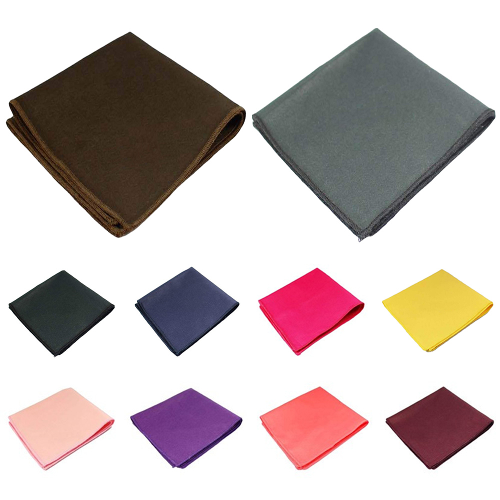 Men Cotton Solid Pocket Square Wedding Party Candy Color Handkerchief Hanky QNTIE0324