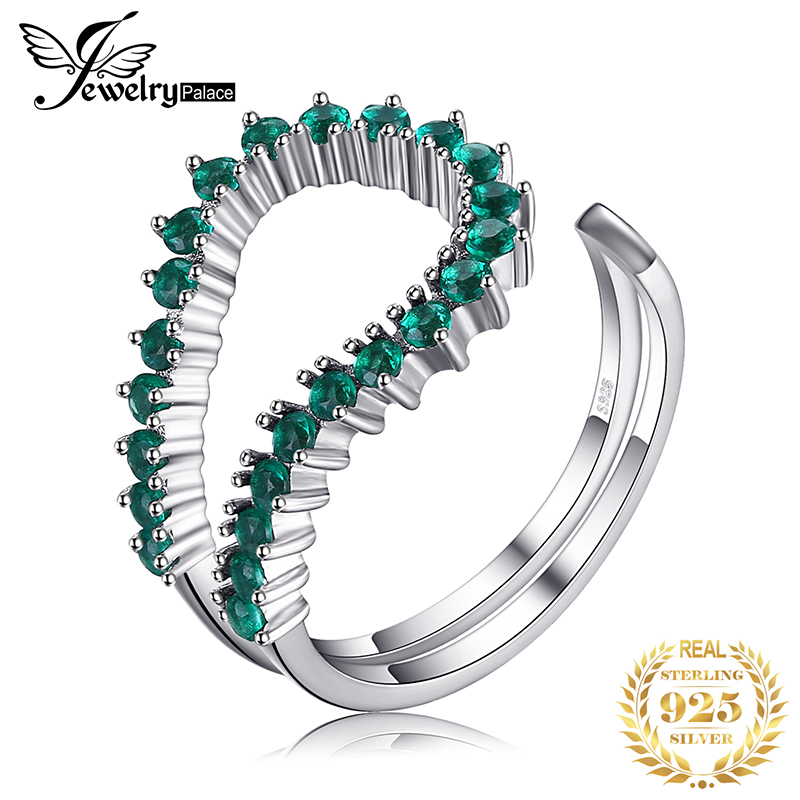 JewelPalace Simulated Nano Emerald Ring 925 Sterling Silver Rings For Women Stackable Rings Band Silver 925 Jewelry Fine Jewelry