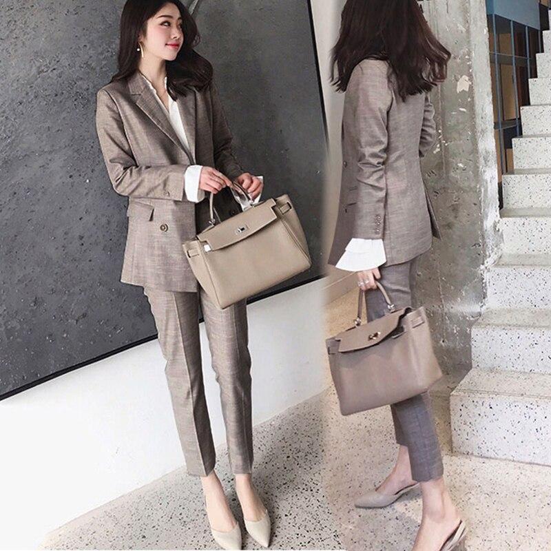 Women Suit 2 Piece Sets Casual Blazer High Waist Pant Office Lady Notched Jacket Pant Suits Femme set