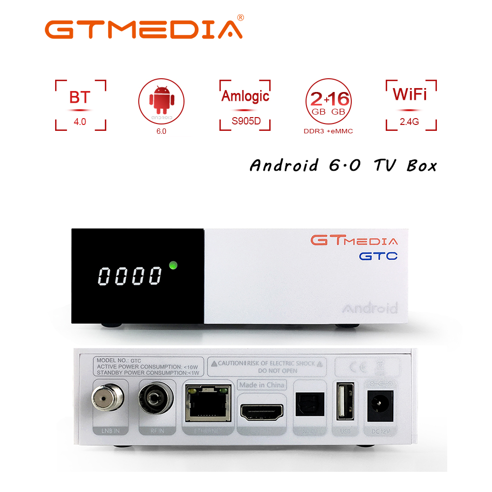 FREESAT GTC DVB-T2/S2/C ISDBT Smart TV BOX Android 6.0 2GB+16GB Quad-Core Bulit In WIFI 4K 3D Google Netflix IPTV Set Top Box