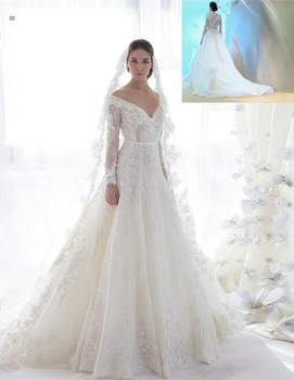 Tulle plus size Ziad Nakad Beaded Lace Applique Long Sleeve Off Shoulder Bridal Gown Sweep Train Crystal Bespoke Wedding Dresses lace applique lantern sleeve cold shoulder top