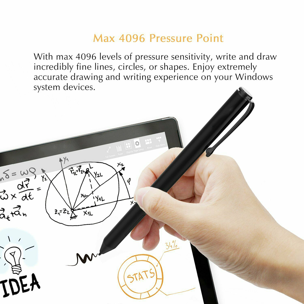 1PC Black 4096 Pressure Stylus Pen For Microsoft Surface Go Pro 5/ 4/ 3/ Book 142mm Wireless Solid Aluminium Stylus Pen