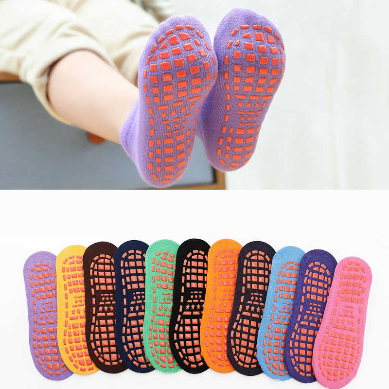Autumn Winter Spring Summer Breathable Non-slip Floor Socks Boy Girl Socks Home Baby Kids Socks Cotton Candy Color Ankle Socks