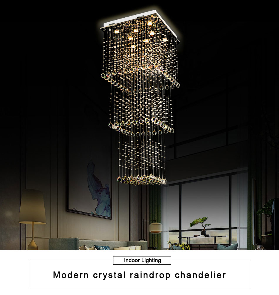 Spiksplinternieuw Modern Luxury Crystal Chandelier Three Square Shape Design Lamp LQ-67