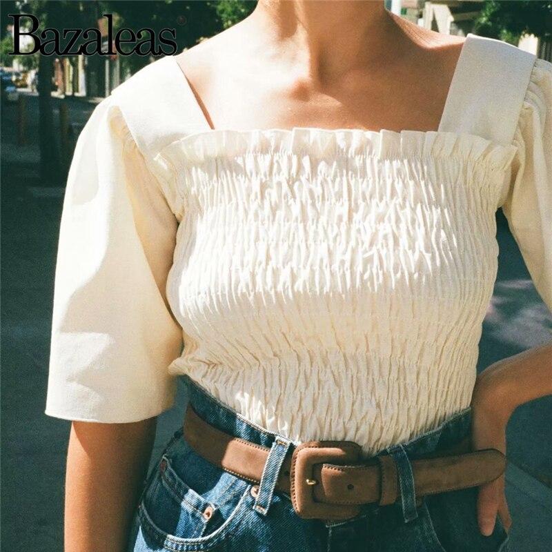 Bazaleas Chic Retro Elastic Slim women blouse Candy Green Petal Sleeve blouses France blusas mujer de moda 2019 Drop shipping